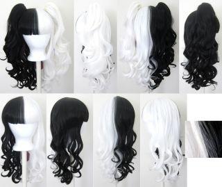 20 Gothic Lolita Wig 2 Pig Tails Set Black White Half Split Cosplay