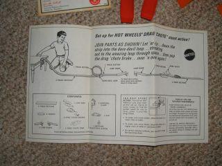 1969 Hot Wheels Red Lines Drag Chute Stunt Set Python