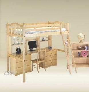 Natural Birch Wood Twin Loft Bunk Bed Chest Desk Hutch