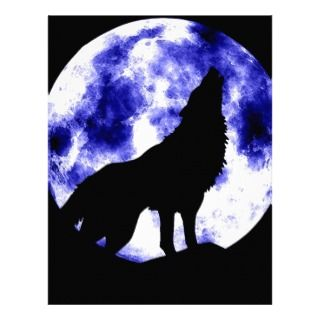 Howling Wolf at Moon Letterhead Template