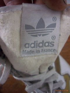 Vtg Adidas White Gold Hi Top Sneakers 7 5 France