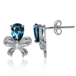 London Blue&White Topaz Sterling Silver Ribbon Bow Post Earrings nbht