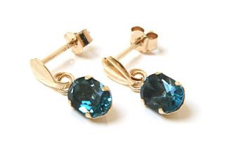 New 9ct Gold London Blue Topaz Drop Earrings Boxed Made in UK