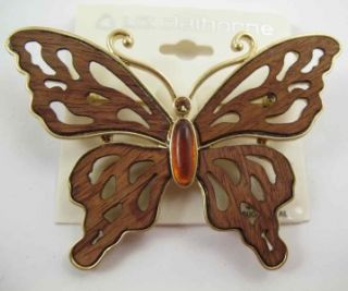 Brooch Pin Lot Wood Enamel Liz Claiborne Old Stock Jewelry