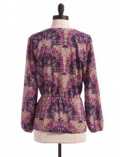 Banana Republic Outlet Floral Long Sleeve Blouse Sz LP Top Purple