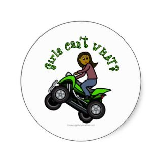 Dark Female ATV  Four Wheeler Driver Round Sticker