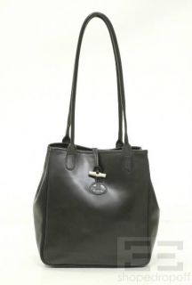 Longchamp Black Leather Roseau Tote Bag