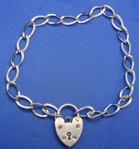 Vintage Sterling Silver Heart Padlock Starter Charm Bracelet