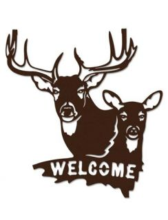 Loon Lake Buck Doe Welcome Sign Brown Metal Wall Art