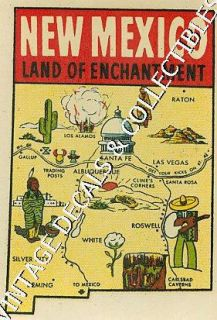 Vintage New Mexico Enchantment State Map Route 66 Novelty Travel Water