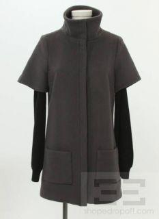 Loeffler Randall Grey Wool Black Ribbed Knit Sleeves Jacket Size 6