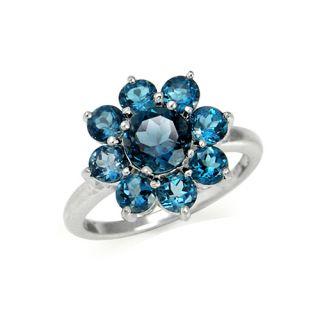 . Natural London Blue Topaz 925 Sterling Silver Flower Cluster Ring