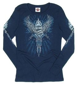 DAVIDSON WOMENS MEDIUM FLAME REFLECTIONS NAVY LONG SLEEVE SHIRT