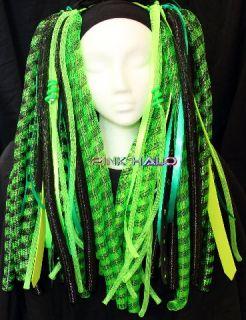 Cyberlox Cyber Falls Toxic Haze Hair Neon Rave UV Glow Blacklight