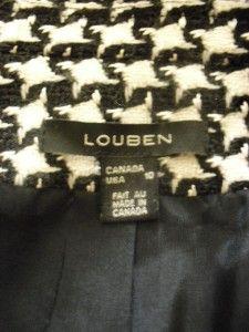 Louben Tweed Zip Blazer Sz 10 M Black Ivory Wool Winter Faux Leather