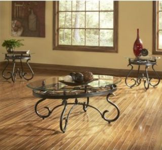 New Contemporary 3 Piece Cocktail Coffee Table Set Metal Glass Top