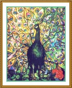 Peacocks Glory by Louis Comfort Tiffany Counted Cross Stitch Chart