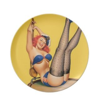 Sailor pin up girl vintage poster dinner plates