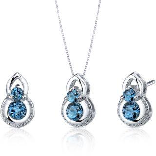 Ct Round Sterling Silver London Blue Topaz Pendant Earrings Set