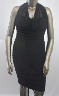 London Times New Black Womens Dress Size 16W Plus Size Halter $112 00