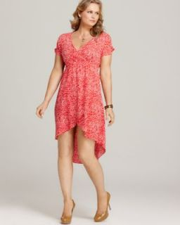 Love ady New Orange Printed High Low Flutter Sleeves Casual Dress Plus