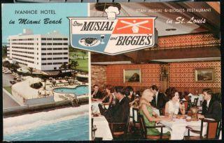 Ivanhoe Hotel Stan Musial & Biggies Restaurant St Louis Vtg Postcard