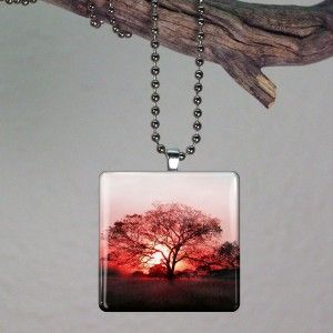Lone Tree Large Glass Tile Necklace Pendant B09