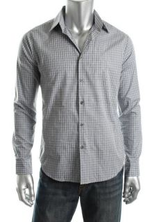 Theory New Sylvain Blue Ocean Grove Plaid Long Sleeve Button Down