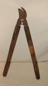 Antique Lopper Tool Iron Wooden Handle Blacksmith 4300