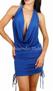 Low Cut Chain Open Back Draped Plunge Clubbing Dress Halter Plunging