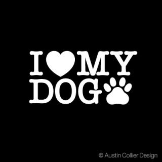 Love My Dog Decal Car Sticker Dog Breed Paw Print