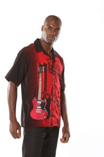 Rock House Black Red Guitar Shirt Musician Button Front