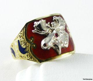 Loyal Order Moose Loom 10K 14k Gold Antique A Ring