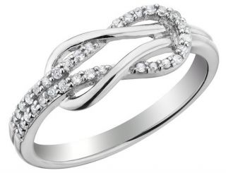 Diamond Love Knot Promise Ring 1 10 Carat CTW in Sterling Silver