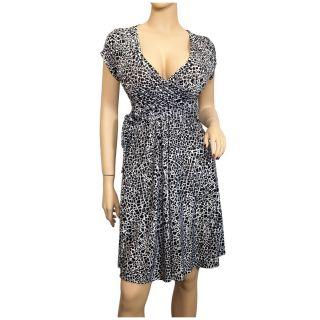 Plus Size Low Cut V Neck Abstract Print Dress Black