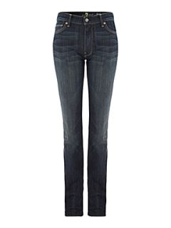 7 For All Mankind High waist straight leg jeans in New York Dark Denim Mid Wash