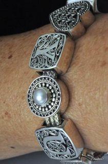 925 Sterling Silver Pearl Lori Bonn Charm Bracelet Love Note