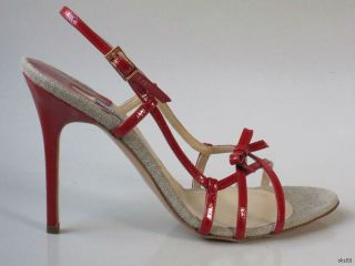 New $468 Luciano Padovan Red Bow Strappy Sandals Heels Shoes Sexy