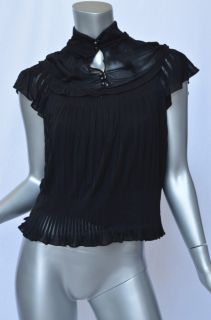 Yves Saint Laurent Black Bib Front High Collar Buttoned Pleat Blouse