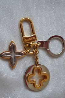 Louis Vuitton Silver Gold Brass Monogram Insolence Bag Charm Key Ring