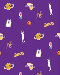 Los Angeles Lakers NBA Basketball Print Fleece Fabric
