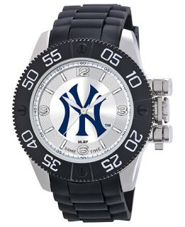Game Time Watch, Mens New York Yankees Black Polyurethane Strap 47mm