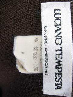 Luciano Tempesta Brown Zipper Cardigan Sweater Top Sz P
