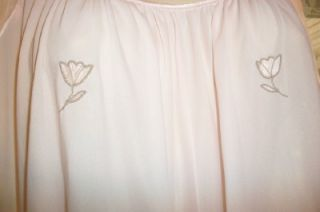 Lovely Lucie Ann Vtg 50s Long Silky Pink Nightgown Gown Damaged Plus