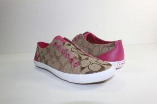 New Coach Lucey 12 cm Sig C KS A1789 Womens Khaki Brown Pink Shoe