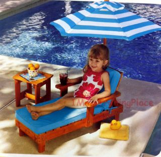 New KidKraft Kid Lounge Set Solid Wood Chair Table Umbrella Patio Pool