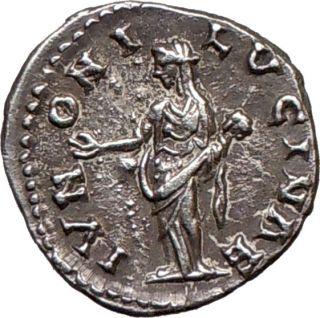 Lucilla Lucius VERUS Wife 166AD Ancient Silver Roman Coin Juno Mars