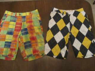 Pairs Mens Loudmouth Golf Pants Shorts Size 32 Waist Grass Tiger