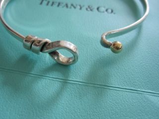 Tiffany Co Sterling 18K Gold Love Knot Buckle Bangle Bracelet