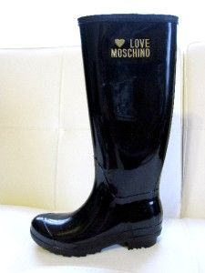 Auth Brand New Moschino Black Rain Boots Love Moschino Size 7 37 Shoes